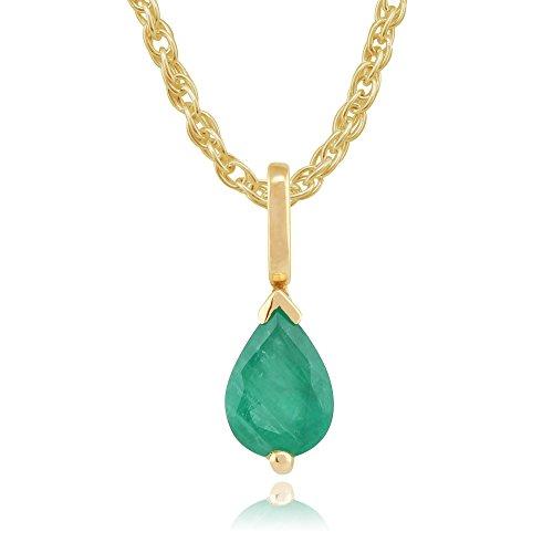 Gemondo Damen 375 Gold 9 Karat Gelbgold Birne Smaragd Klassisch Klaue Satz Anhänger Halskette Grün 45cm