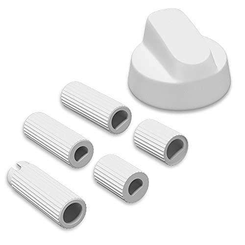 Knebel Drehknopf Drehgriff Universal 43mmØ Weiß mit Adaptern für Herd Backofen Ersatzknebel für Backofen Ofen