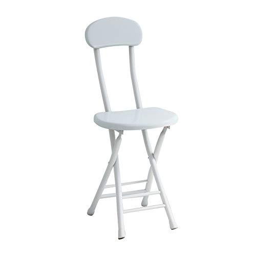 CCSUN Metall Klappstuhl, Vierfach-unterstützung Essstuhl Mit Rücken Computer Stuhl Klapphocker-weiß Sitzhöhe 44cm(17.3 Inch)