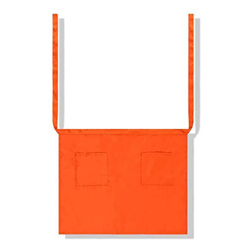 ZHANGXIANG Küchenschürze Kinder Halbe Taschenwerbung Bund Bestickte Arbeitskleidung Für Köche Und Schürzen Für Männer Und Frauen-Orange