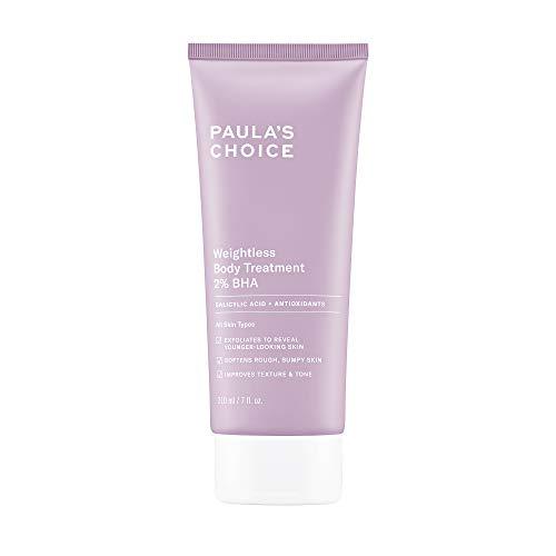 Paula s Choice Weightless Body Treatment 2% BHA, Salicylic Acid & Chamomile Lotion Exfoliant, Moisturizer for Keratosis Pilaris (KP) Prone Skin & Clogged Pores, Fragrance-Free & Paraben-Free, 7 Ounces