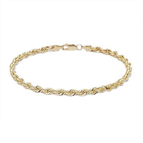 14 karat / 585 Gold Kordel Armband Gelbgold 3 mm. Breit (19)