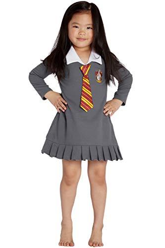 HARRY POTTER Hermione Granger Gryffindor Halloween Toddler Costume Uniform Tie Pajama Gown, Gray, 4T