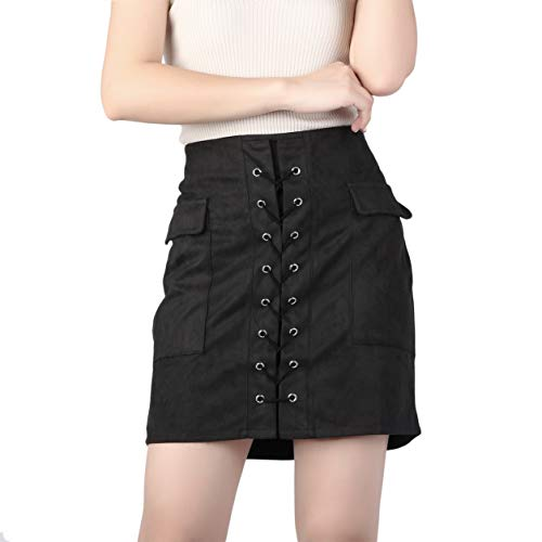 YXDS Faldas de Mujer Otoño con Cordones Falda de Tubo de Gamuza de Cuero Falda Cruzada de Cintura Alta con Cremallera Dividida Mini Faldas Cortas