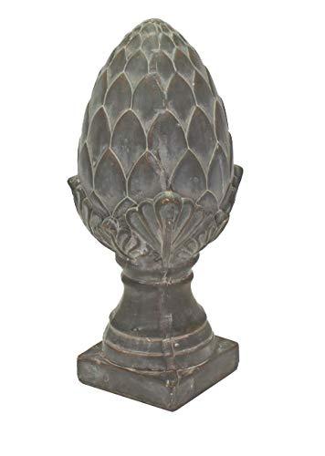 Pinie Keramik Pinienzapfen Skulptur grau ca. 33cm Gartenskulptur Gartendekoration Deko Zapfen