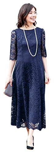 [アールズガウン]ロングドレス 母親 ロング 結婚式 発表会 フォーマル レース 羽織り 大きいサイズ アフタヌーンドレス FD-1952388 (ネイビー(ミディアム), LL)