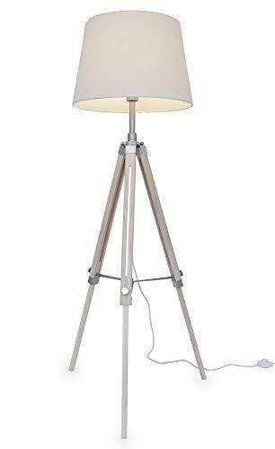 Kiom lampadaire Retro Elvy blanc bois trépied 10856