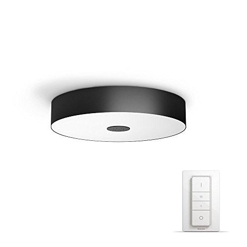 Philips Hue White Ambiance Fair - Plafón Negro LED con Mando, Iluminación Inteligente, Compatible con Amazon Alexa, Apple HomeKit y Google Assistant