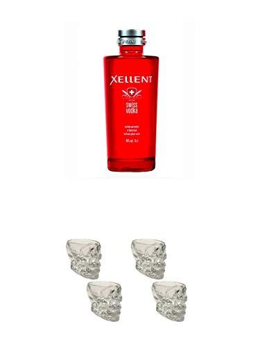 Xellent Swiss Vodka 0,70 Liter + Wodka Totenkopf Shotglas 2 Stück + Wodka Totenkopf Shotglas 2 Stück