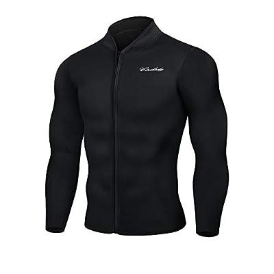 CtriLady Men's Best Neoprene Wetsuit Jacket Front Zipper Long Sleeves Workout Tank Top for Swimming Snorkeling Surfing