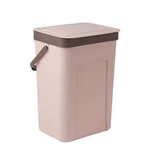 1yess Mülleimer Desktop Küche mit Deckel kreativen Müll kann hängen Haushaltsraum Schlafzimmer aus Kunststoff deckte Mülleimer (Farbe: schwarz (klein)) Color : Pink(Big)