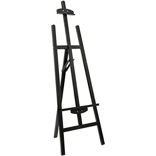 Marble Field Adjustable Wooden Tripod Easel Display Floor Easel Sketch Painting Portable, Black