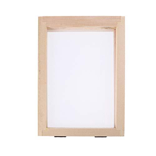 ULTNICE Wooden Paper Making Mould Printing Frame Papermaking Screen Printing Frame Mesh Tool Kits for Paper Handcraft DIY Paper Craft (Beige)