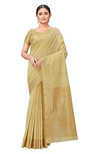 Monjolika Fashion Women's Cotton Saree With Blouse Piece
