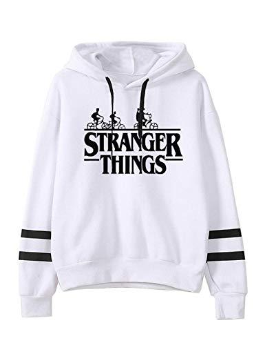 Sudadera Stranger Things Niña Mujer, Unisexo Stranger Things Sudadera con Capucha Sweatshirt Manga Larga Impresión Raya de Béisbol Pullover Suéter