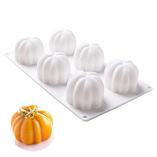 6 Cavidades Molde De Silicona De Calabaza Tridimensional 3D Molde de Halloween 3D Molde de silicona 3D Calabaza Molde para Jabón Chocolate Pastel Pan Cubo de Hielo Molde DIY para Hornear del Molde