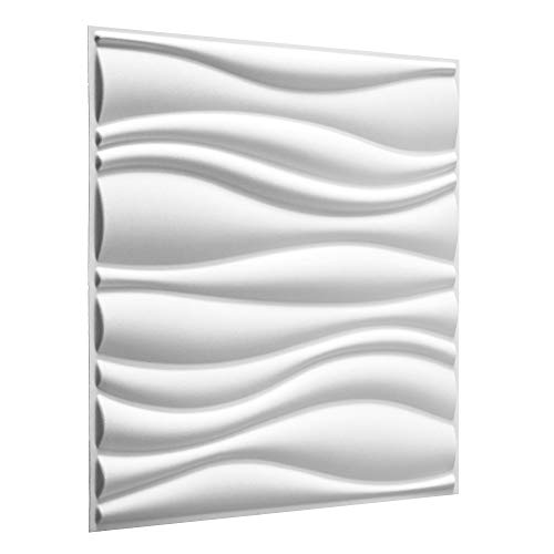 WallArt 3D Wandpaneele Waves - 3D-Wandverkleidung - Raumstyling mit 3D Wandplatten - Alternative Wandverkleidung - Streichbare 3D Reliefplatten - 50 cm x 50 cm - 12 Stück für 3 m² Wandfläche