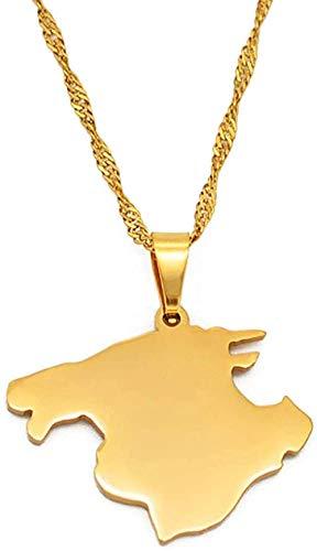 NC188 Mallorca España Mapa Collar Colgante Collares Cadenas de Color Oro Joyas 60 Cm