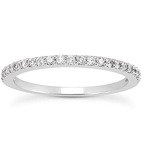 Szul - Anillo con banda de diamantes blancos de 1/4 quilates TW en oro blanco de 10 K - Certficación AGS (American Gem Society)