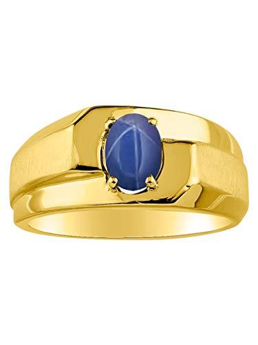 RYLOS - Anillo para hombre con forma ovalada de cabujón en plata chapada en oro amarillo de 14 quilates, zafiro de estrella azul de 925-7 x 5 mm, piedra de color zafiro de estrella negra
