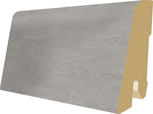 EGGER Home Sockelleiste grau L543 Fußleiste | Bodenleiste 2,4m passt zu EHL099 Toscolano Eiche grau