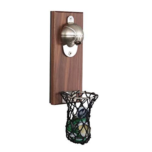 SDFLKAE Abrebotellas de baloncesto magnético, abridor de madera montado en la pared con tapa colector