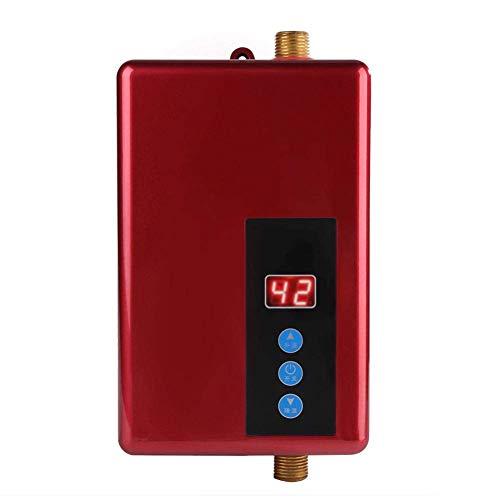Garosa Scaldabagno Elettrico istantaneo Mini, Misure di Sicurezza Multiple Scaldabagno Senza Serbatoio Sistema di Acqua Calda per Cucina e Bagno, 5500W 220V (Rosso)