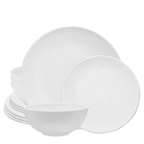 bzyoo BPA-Free Dishwasher Safe 100% Melamine White Plate & Bowl Set Best for Casual dining Indoor and Outdoor Dining… Salted Salad