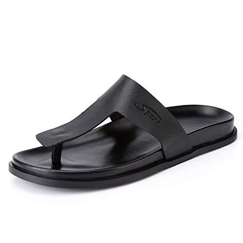 cicongzai Zapatos de Cuero para Hombre de Verano Hechos a Mano Sandalias Top Capa Retro Zapatos de Cuero Zapatillas Moda para Hombre Zapatos de Cuero Casual (Color : Black, tamaño : 40 EU)