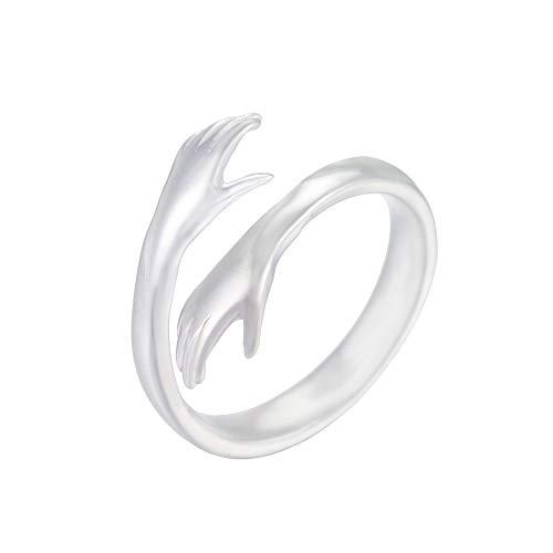 Anillo de plata de ley con apertura ajustable y doble manos para mujeres, niñas, hombres, parejas.