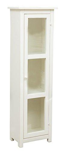 Biscottini Vitrine Country en bois massif de tilleul finition blanc vieilli L 40 x P 25 x H 130 cm Fabriquée en Italie