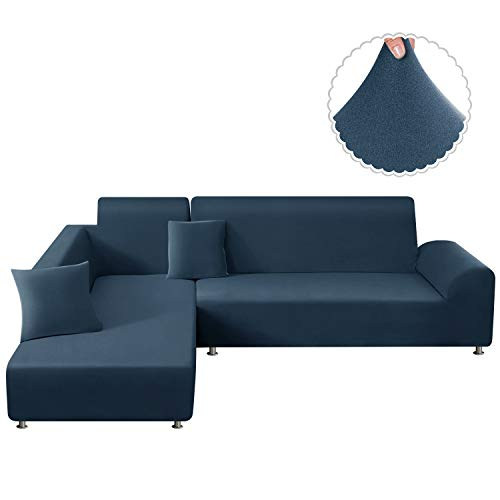 TAOCOCO Sectional Couch Covers 2pcs L-Shaped Sofa Covers Softness Furniture Slipcovers with 2pcs Pillowcases L-Type Polyester Fabric Stretch Sofa Covers 3 Seats +3 Seats (Turquoise Blue)
