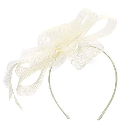 Fascinator Damen Mädchen Haarspange Feder Blumen Haarklammer Tea Party Kirche Haarreif Hochzeit Brautschleier Vintage Haarschmuck Mesh Stirnband mit Hair Clip für Halloween Fasching Karneval