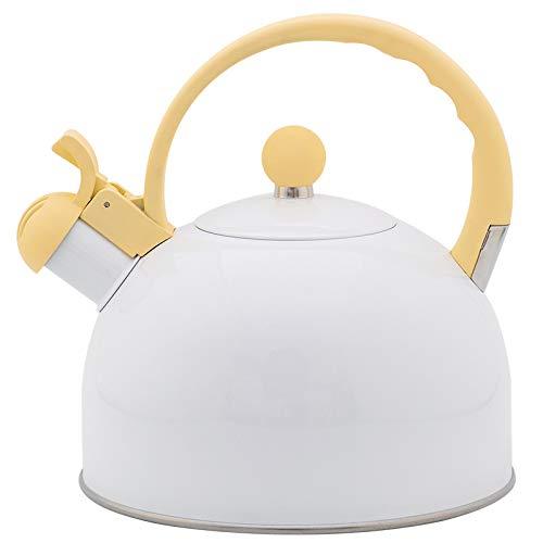 Silbato blanco hervidor de agua 2.5L mango amarillo utensilios de cocina silbato caldera gas universal