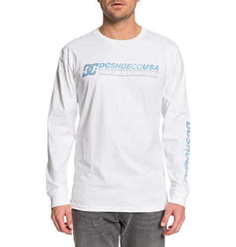 DC Shoes Longer-T-Shirt Manches Longues pour Homme, White, FR : 2XL (Taille Fabricant : XXL)