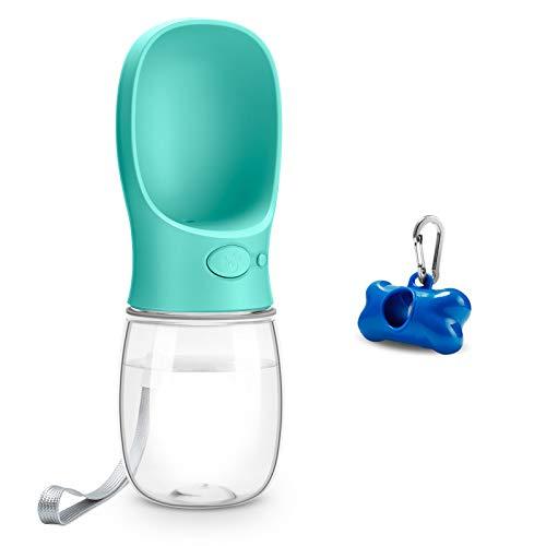Toozey Hunde Wasserflasche, 350ml Tragbare Haustier Trinkflasche mit Hundekotbeutel, Beutelspender und Karabiner, BPA Frei Hunde Katzen Flasche, Ideal für Unterwegs, Reise und Wandern, Blau