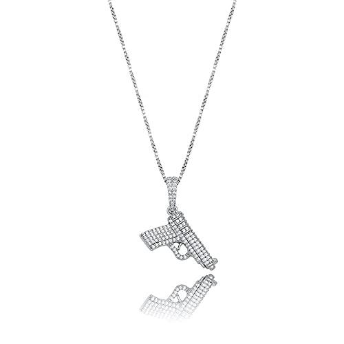 Micro Concrete Cubic Zirconia S925 Silver Drawing Ice Out Cs Go Gun Colgantes Collares para mujeres Moda Hombres Hip Hop Jewelry-Silver