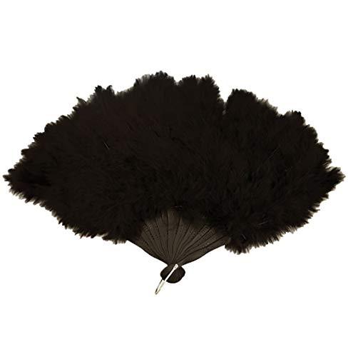 MA ONLINE - Ventaglio da donna in soffice piuma, per feste in maschera, 45 x 27 cm, colore: Nero