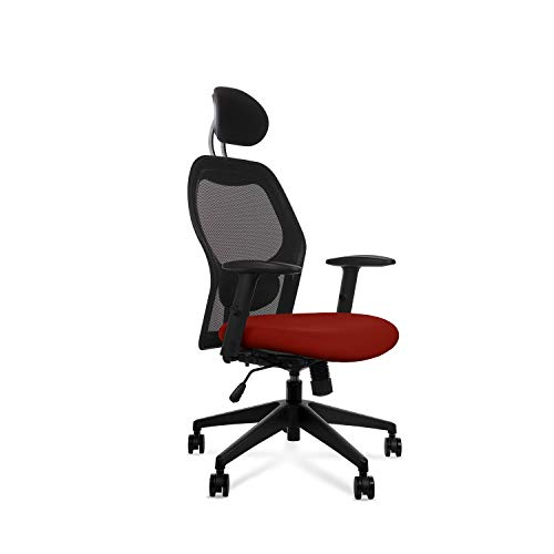 Wipro Furniture Polypropylene Alivio High Back Executive Ergonomic Office Chair with Advanced Synchro Tilt Mechanism and Height Adjustable Arms (Cinnamon Red)