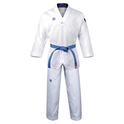 Mooto Korea Taekwondo Extera S6 Uniforme con Cuello En V Blanco para competición Dobok TKD Artes Marciales MMA Judo Karate Hapkido (190(Height: 190~199cm)(6.23~6.53ft))