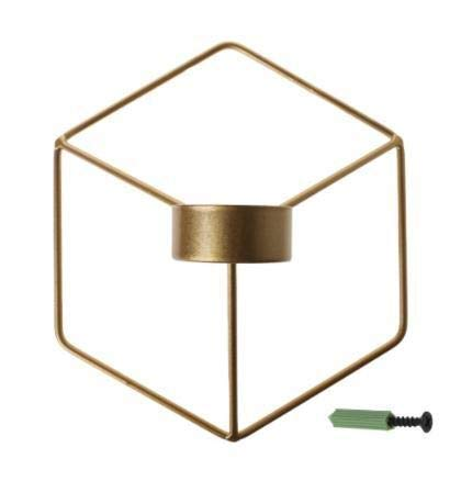Kandelaars Voor Tafel Scandinavische Stijl Kandelaars 3D Geometrische Kandelaar Metalen Wandkandelaar Blaker Woondecoratie Theelicht (Kleur: Lichtgeel)