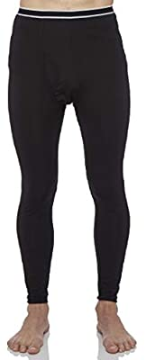 Rocky Men's Fleece Lined Thermal Bottoms Long Underwear Baselayer Pants Legging Black