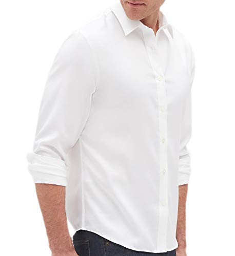 BANANA REPUBLIC Mens Slim-Fit Untucked Non-Iron Shirt, White (M)