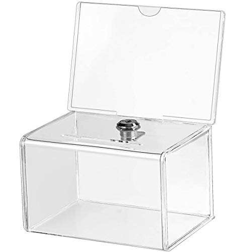 """MaxGear Acrylic Donation Box with Lock, Large Ballot Box with Sign Holder, Clear Suggestion Box (6.25"""" x 4.5"""" x 4"""") Storage Container for Voting, Charity, Ballot - 2 Pack"""