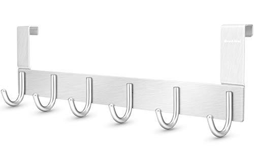DeeAWai Türgarderobe Aluminium - Türhaken Kleiderhaken Tür Türhakenleiste mit 6 Haken - Haken Tür für 1-1,5 cm Dicke Tür zu hängen Mäntel, Hüte, Jacken, Roben, Made für deutsche Standardtüren, Silber