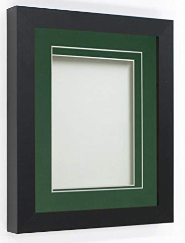 Frame Company Rickman Box 3D Photo Frame, Wood, Black with Bottle Green Mount, A4 for image size 9x6 inch