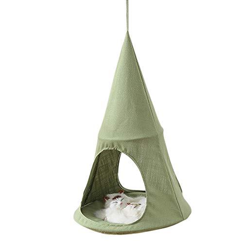 LuMon Katzen-Hängematte, Premium-Katzenbett, atmungsaktiv, gemütlich, kegelförmig, hängendes Bett, für Katzen, Kätzchen grün