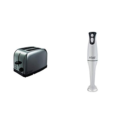 Russell Hobbs Futura 2-Slice Toaster 18780 - Stainless Steel Silver & Hobbs Food Collection Hand Blender 22241, 200 W - White