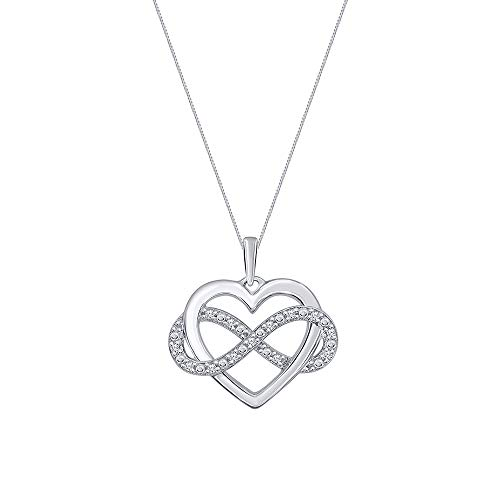 Elmas 1/10ct Round White Diamond 925 Sterling Silver Infinity Heart Pendant Necklace with 18' Chain for Womens Teens (PD02738) Mother's Day