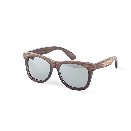 WHSS Gafas de Sol Nuevas Gafas De Montura De La Personalidad De La Moda De Bambú Que Conducen Las Gafas De Sol Polarizadas Protección UV400 (Color : Silver)